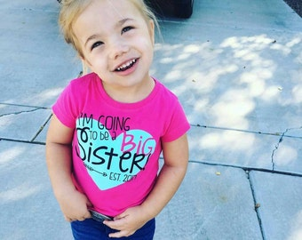 I'm going to be a Big Sister T-shirt / Hot pink and Mint Big Sister
