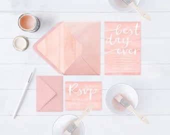 Blush Wedding Invitations / Watercolor Blush / Blush Watercolor / PRINTED Watercolor Wedding Invites w/ RSVP Cards