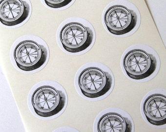 Compass Stickers One Inch Round Seals