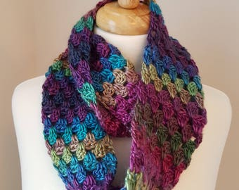 Infinity Scarf Granny on the Straight Crochet Knit Handmade Women's Scarves