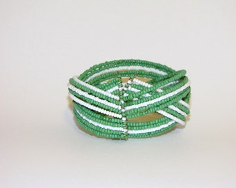 Green and white beaded braided cuff bracelet
