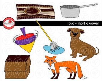 CVC Short O Vowel Clipart: Digital Image Set (300 dpi) School Teacher Clip Art Early Reading Picture Alphabet