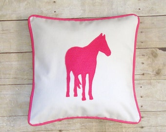 Horse Pillow Cover, Gifts for Girls, Pink Pony, Equestrian Home Decor