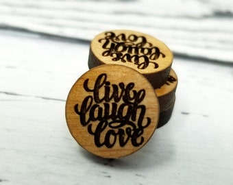 12mm | Engraved Wood Finding Live LAUGH Love Quote Saying Word Art | Cabochons Stud Earring Embellishments | Laser Cut
