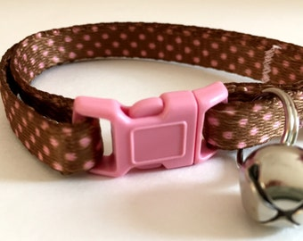 Cat Collar - Kitten Collar - Breakaway Cat Collar with Bell - Cute Pink Polka Dot Cat Collar - Adjustable Girl Cat Collar