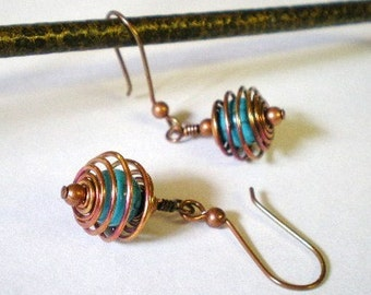 Turquoise Blue Howlite Beads in Spiral Copper Cages Earrings, Dyed Turquoise Blue Dangle Earrings, Blue Drop Earrings