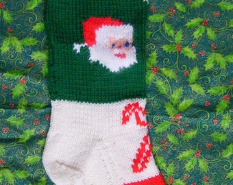 1950's Vintage Knitted Santa Christmas Stocking Pattern