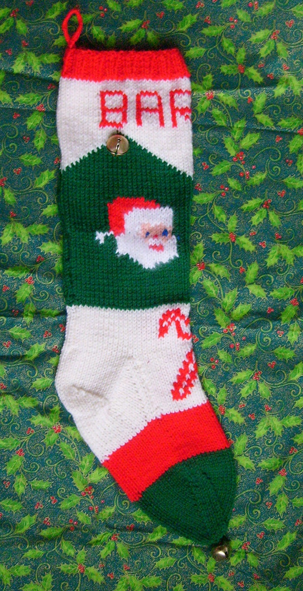 1950\'s Vintage Knitted Santa Christmas Stocking Pattern