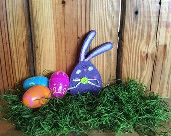 Wooden Purple Easter Bunny