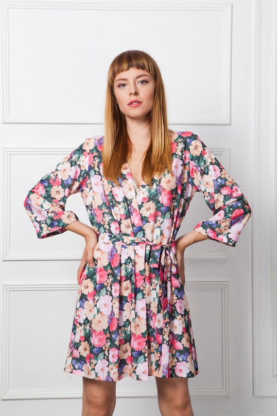 Floral Dressing Gown Floral Robe Kimono Dressing Gown Short