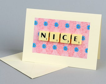 Handmade Greetings Card with Scrabble Letters, Nice, Good, News, Kind, Friend, Friendship, Company, Vintage, Retro, Tiles, Words