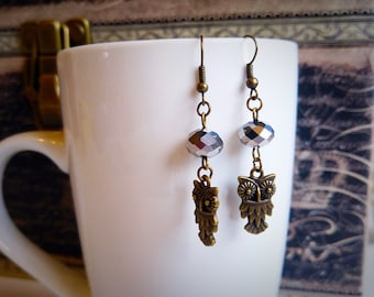 Bronze owl dangling earrings, crystal bead, sparkly, feminine, handmade by Felicianation