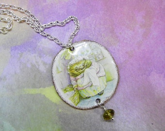 NEW: Beatrix Potter Tin Pendant, Necklace, Upcycled Tin Cookie Can, Mrs Tiggy Winkle, Free Shipping, Handcrafted by Bumbleberry Jewelry