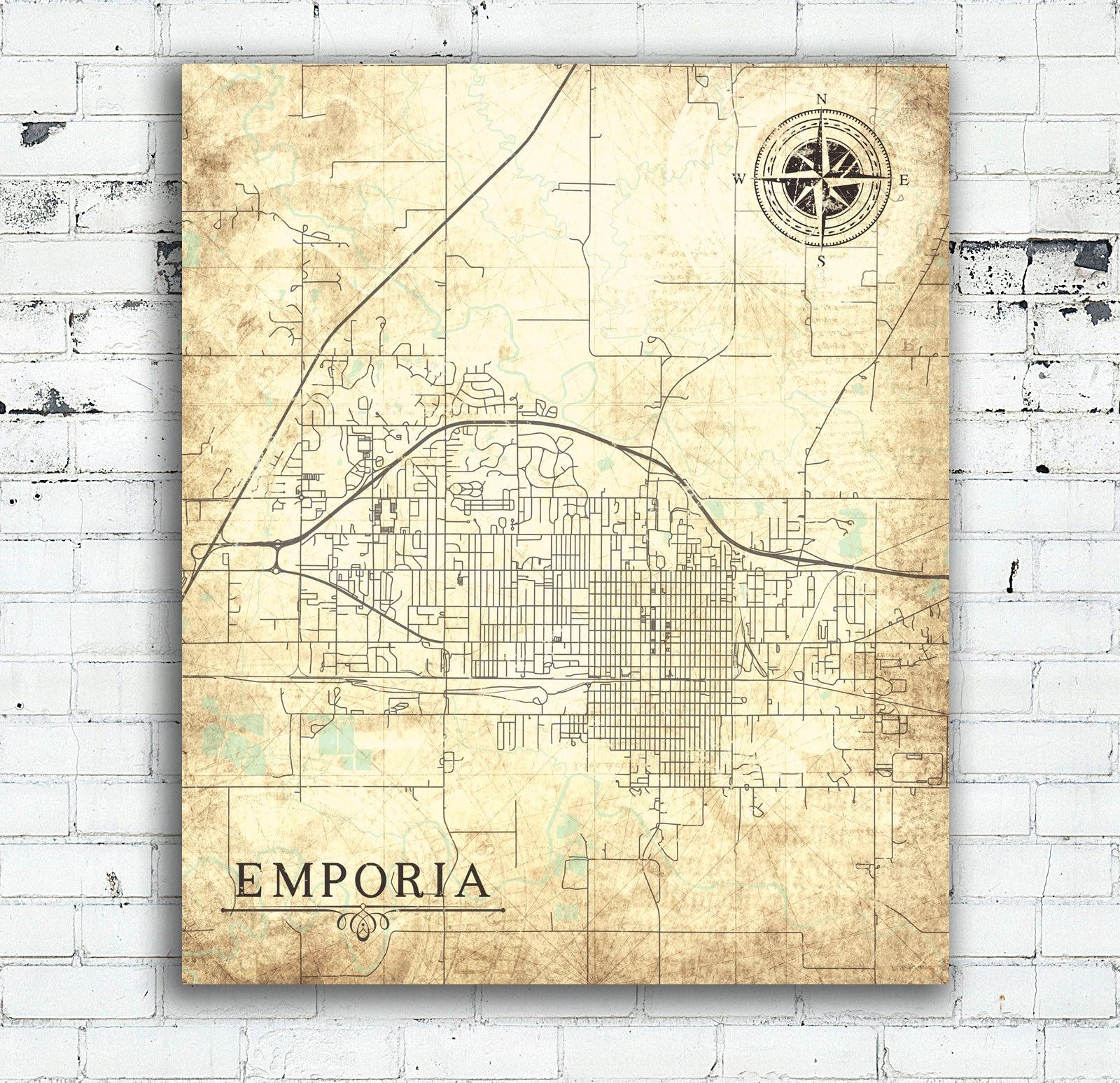 EMPORIA KS Canvas Print Kansas ks City Town Plan Vintage map Wall ...