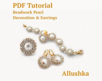 Pearl beadwork basic element and earrings PDF tutorial with Swarovski pearls