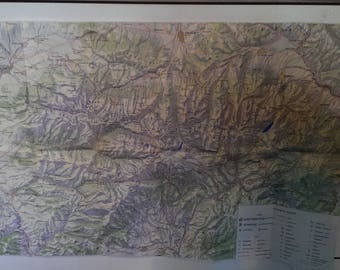 Vintage Map of the Highest Mountain RILA, Map Bulgarian Mountain, Overview Tourist Map from 1970s, Gift Idea