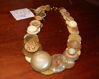 Vintage Beige Chunky Layered Button Necklace