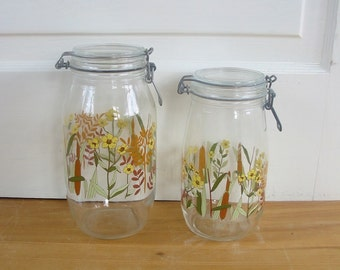 Vintage Glass Jars, Mid Century Jars, Canister Jars, Glass Jars, Flowers Wheat, 2 Liters Canister Set, French Jars