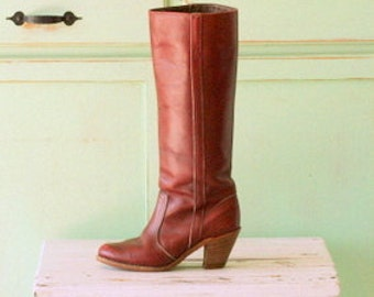 Vintage MOD GIRL Designer Boots...size 6 womens....red leather. designer vintage. leather boots. ankle boots. mod. tall boots. brown boots