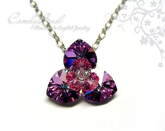 Crystal Necklace; Swarovski Necklace; Glass Necklace; Magic Purple Necklace (N031-01)