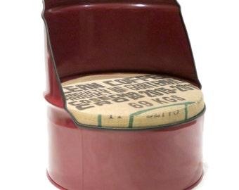 Maroon Reclaimed Oil Drum Chair Seat - Short