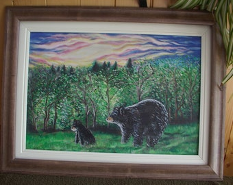 Bears in the forest. Landscape.