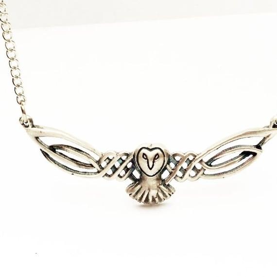 Celtic Owl Pendant, Barn Owl Necklace, Sterling Silver Owl Necklace, Celtic Owl, Barn Owl, Labrynth Necklace, Jareth Necklace Owl Lover Gift