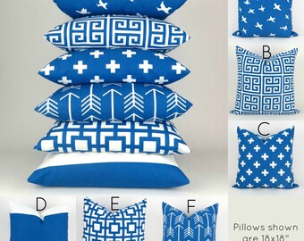 Royal Blue & White Throw Pillow Covers -MANY SIZES- Cobalt Cushion, Beach Costal Decor Mix/Match patterns, Euro Sham, Pemier Prints FREESHIP
