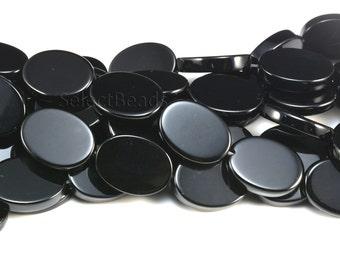 black onyx oval beads - flat back oval gemstone beads - black gemstone beads for jewelry design - quality oval beads for jewelry -15 inch