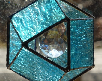 Stained Glass Suncatcher - Six Sided Glass Ball in Aqua