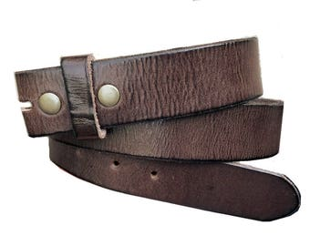 Distressed Brown Premium Leather Snap Belt Strap - Genuine - 1.5'' - Removable for Buckles - Cool Gift Idea for men or Women - Thick