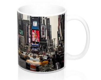 New York City Times Square Yellow Cab Mug 11Oz, NYC Photo Mug, Tourist Mug