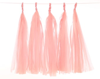Tissue Paper Tassel, Blush Tassel Garland, Wedding Photo Backdrop, Pink Photo Backdrop, Gender Reveal Decor, Bridal Shower Tassel Garland