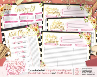 Printable Stripe Floral Meal Planning Bundle | For Happy Planner | Erin Condren | U.S. Letter Binders | Instant Download