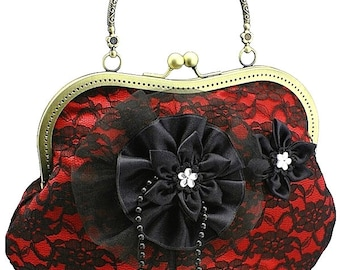evening handbag handbag red bag evening bag evening handbag womens handbag clutch handbag vintage bag party handbag black red HBr