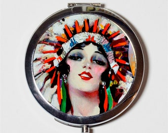 Art Deco Native American Compact Mirror - 1920s Jazz Age Flapper Indian - Make Up Pocket Mirror for Cosmetics