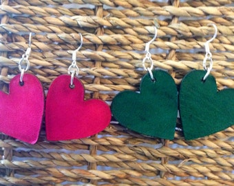 Upcycled Laser Cut Leather Heart Earring