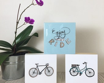Enjoy the Ride - Cycling Art Block - bicycle art print on square wood panel, cute bike gift or gifts for cyclists