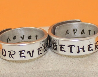 Forever Together- Never Apart.. Personalized Rings.. Couple rings.. Custom rings.. Adjustable - Hand Stamped, Aluminum Rings..