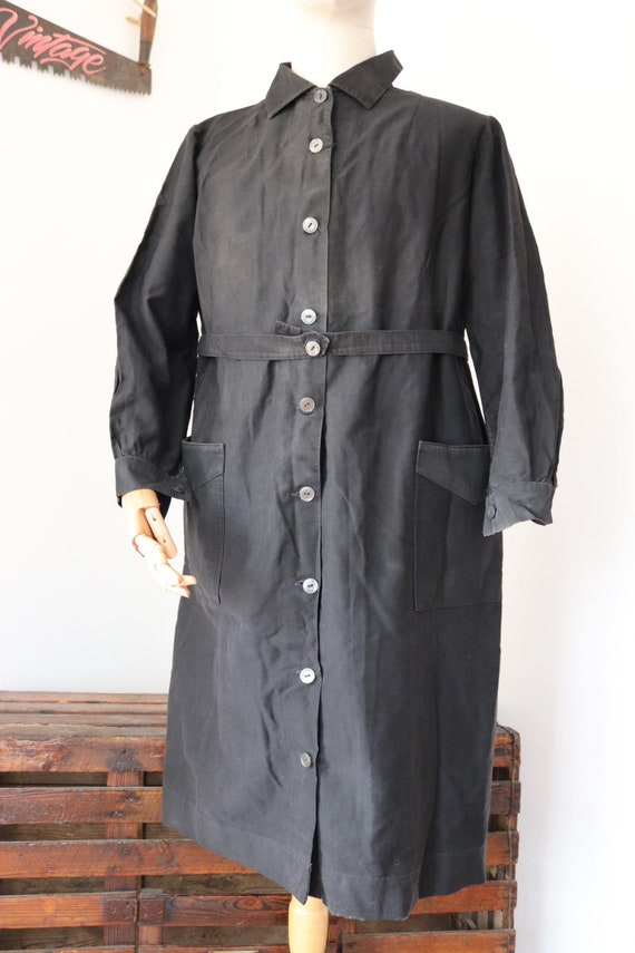 "Vintage 1940s 40s french black cotton womens ladies belted button up overalls house chore coat workwear 48"" chest"