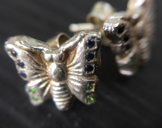 Sterling Silver Butterfly Stud Earrings set with Blue Sapphires and Green Tsavorite Garnets