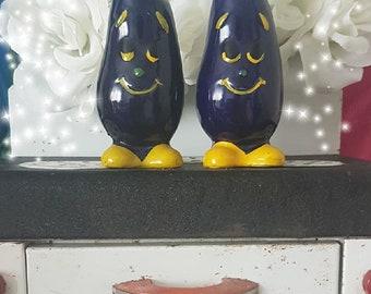 Vintage anthropomorphic eggplant shakers