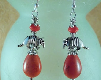 Southwestern Cowgirl  Earrings - Armadillos with Red Howlite and Coral