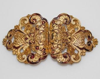 Victorian Enameled Belt Buckle Fancy Scroll Design Red Gold Beige
