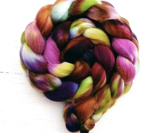 LOTUS FLOWER A color spinning fiber, Organic, Polwarth, roving, spinning, handpainted, hand dyed, top, wool