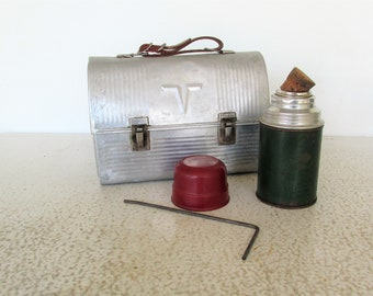 Vintage Lunch Box Aluminum Mens / Thermos  Aladdin with Cork