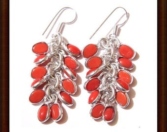 Red Jasper earrings and Sterling Silver 925 - 42mm artisan