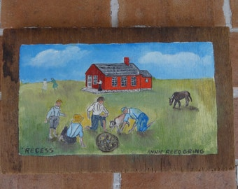 vintage primitive folk art Painting PA dutch Berks Annie Reed Gring signed school house
