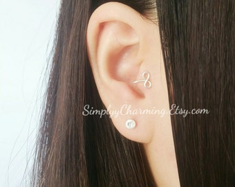 Tiny Infinity Tragus Ear Cuff Earring Clip On Fake Earring Or Real, You Choose - Sterling Silver/14K Gold Filled