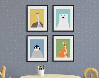 Animals print, boy nursery decor, kids animal art, zoo animal print, set of 4 prints, polar bear, ostrich, penguin, kangaroo